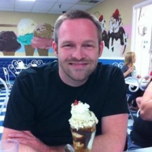 Photo of Jason Campbell eating ice cream.