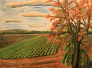 Painting of a tree and crops