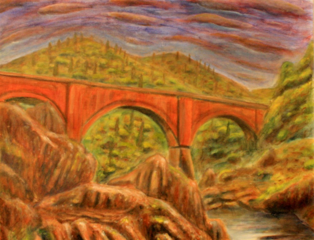 Acrylic Painting of an Orange Bridge by Jason T Campbell