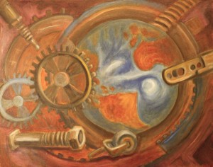 """Cogs and Threads"" fine art painting by Jason Campbell - acrylic on canvas"