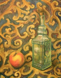 """Still Life with Apple and Bottle"" fine art painting by Jason Campbell"