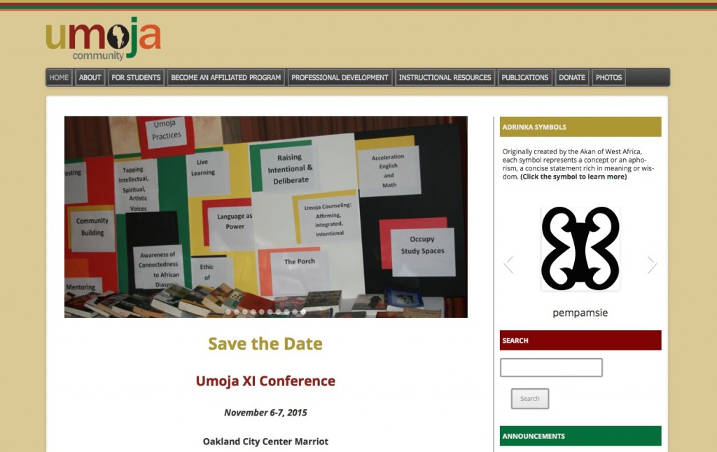 umoja website design home page