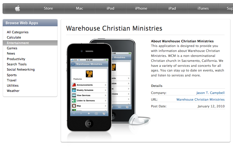 Web App For Warehouse Christian Minisries