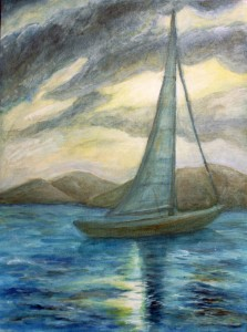 Carribean Sale Boat Landscape Painting