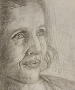 Portrait Drawing of middle aged woman