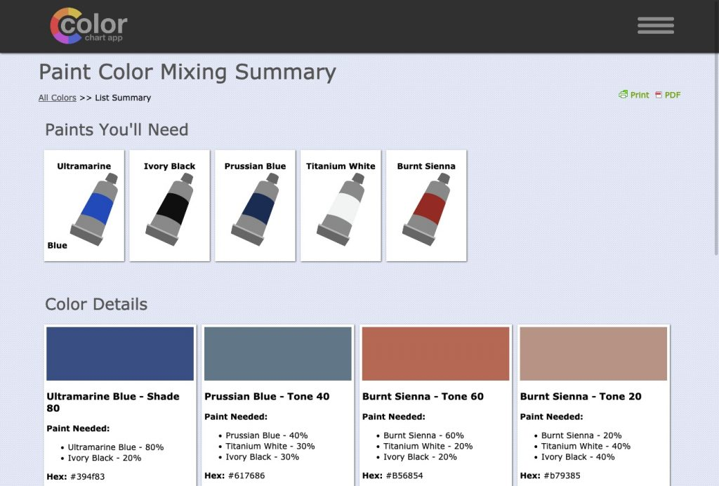 color chart app screenshot