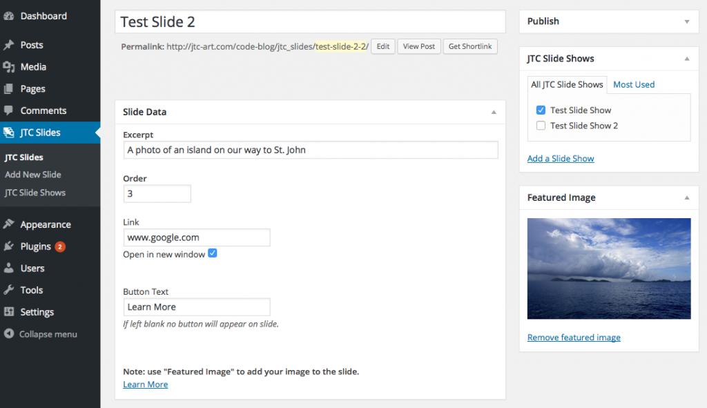 JTC Slides Screen Shot Back End Slide Edit